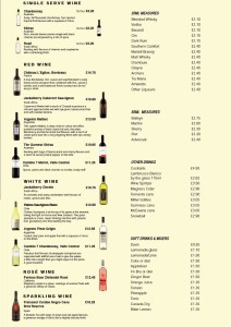 bar price list