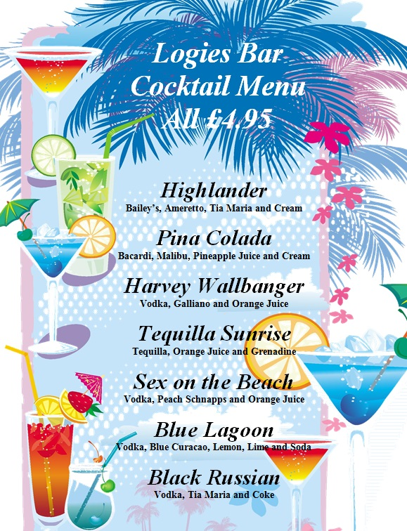 Logie s bar for Mixed alcoholic drinks list